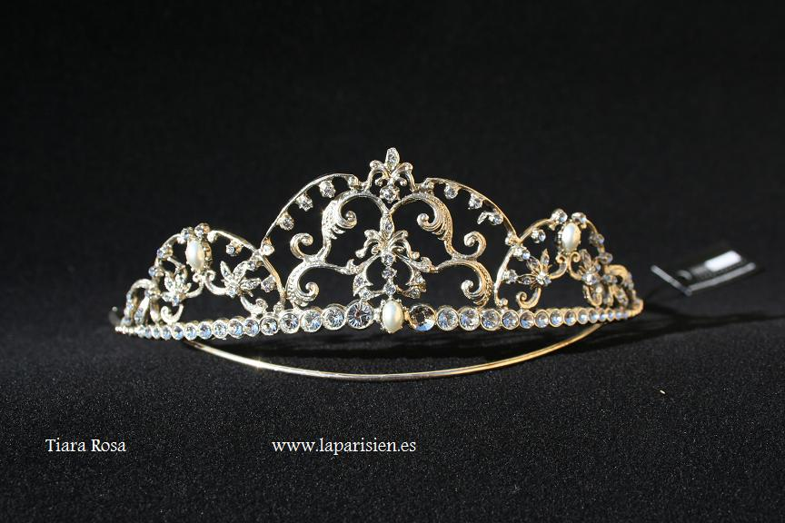 Silver wedding tiara, Rosa model.