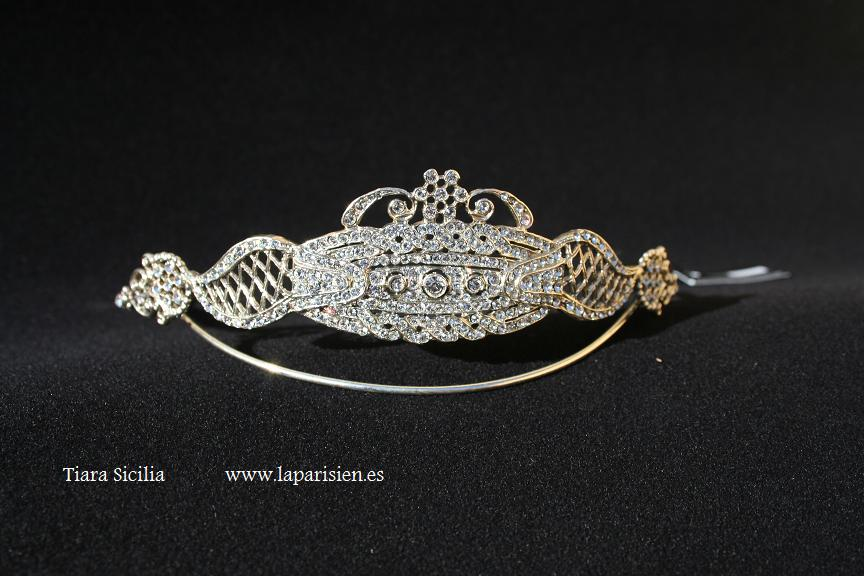 Silver wedding tiara, Sicilia model.